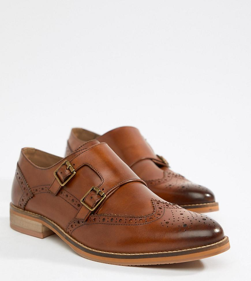 556e6a4ac04 ASOS Wide Fit Monk Shoes In Tan Leather With Natural Sole in Brown ...