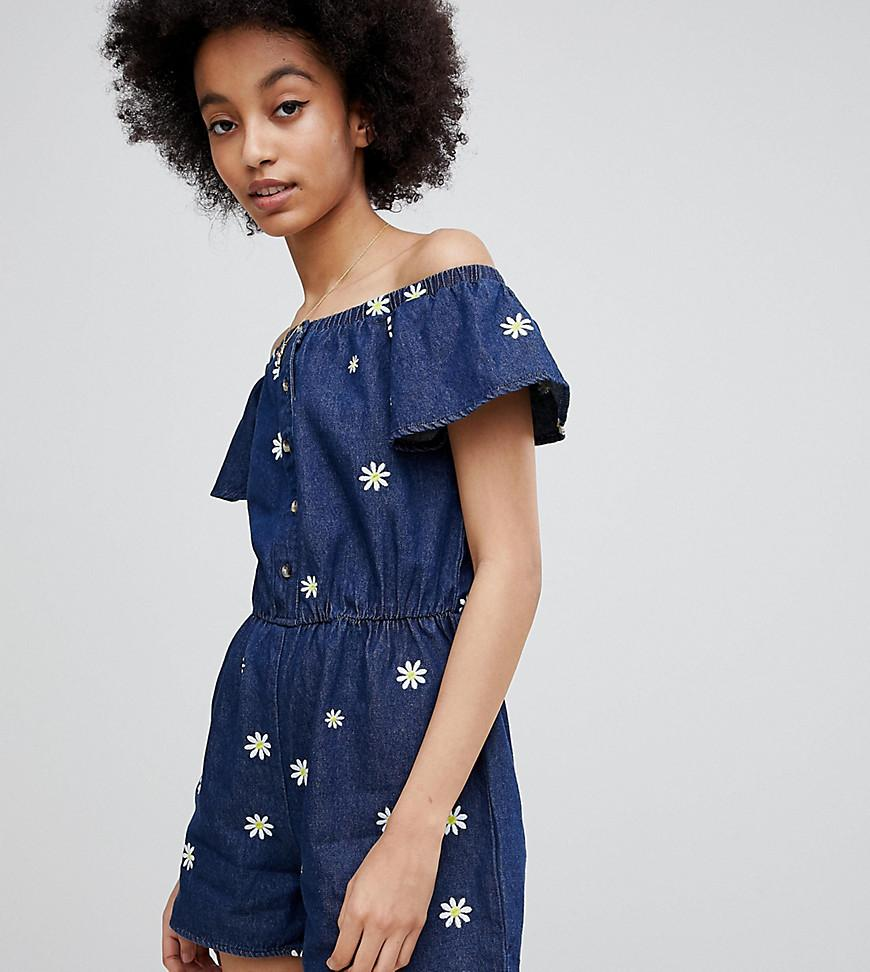 e3894f3348c Miss Selfridge Daisy Print Denim Playsuit in Blue - Lyst