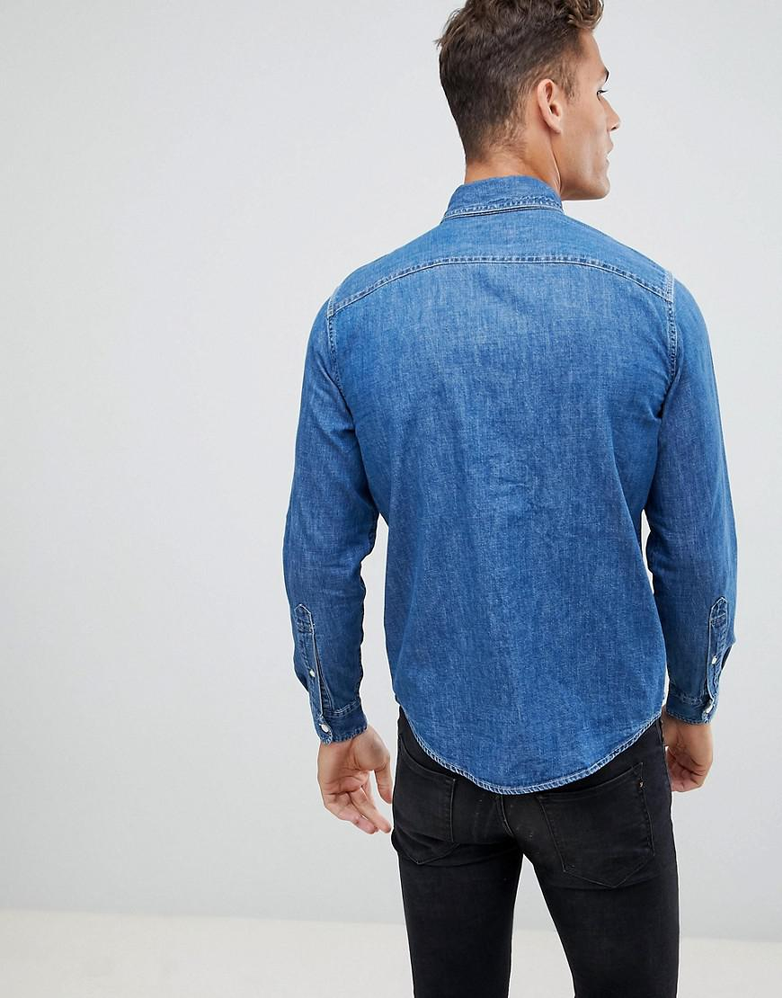 b679d89d62b Lyst - Abercrombie   Fitch Button Down Denim Shirt In Mid Wash in Blue for  Men