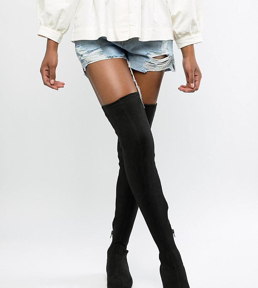 5d1ed962775 ASOS Kelby Flat Elastic Thigh High Boots in Black - Lyst