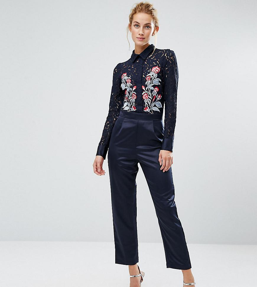 d2d0b4d4ca1b Lyst - Hope and Ivy Hope   Ivy Occasion Jumpsuit With Embroidery in Blue
