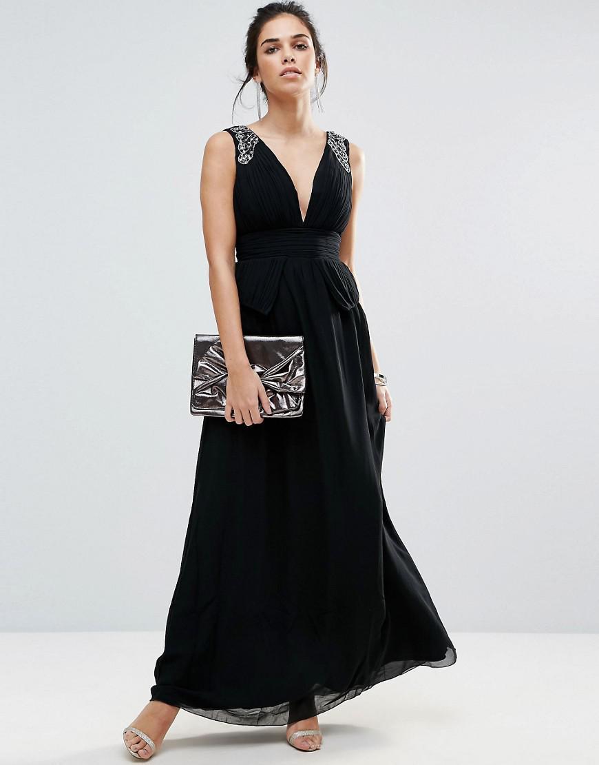 Lyst Little Mistress Plunge Peplum Maxi Dress With