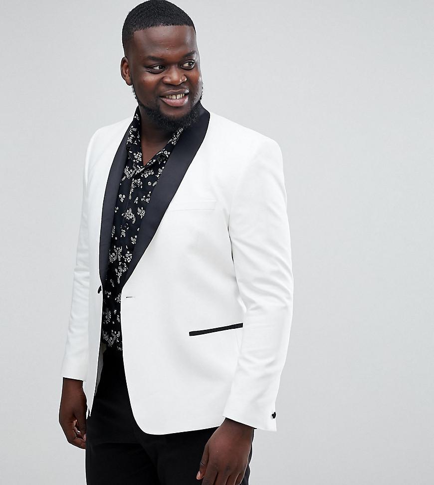 ccc22b32b22ef ASOS. Men s Plus Slim Tuxedo Suit Jacket In White With Black Contrast Lapel