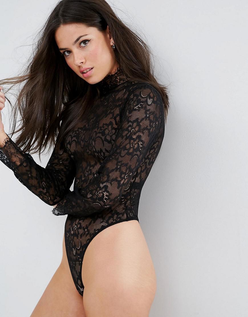 f8722e2f4d ASOS Megan High Neck Lace Bodysuit in Black - Lyst
