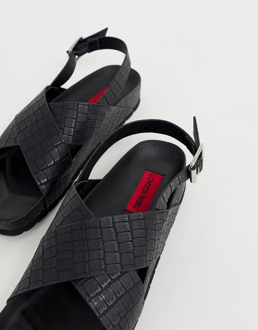 c12d552872e463 Lyst - London Rebel Croc Sling Back Flat Sandals in Black