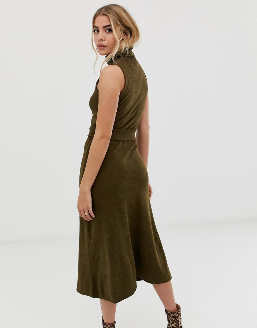 24a7862a34378 Lyst - ASOS Midi Dress With Roll Neck And Self Belt in Green
