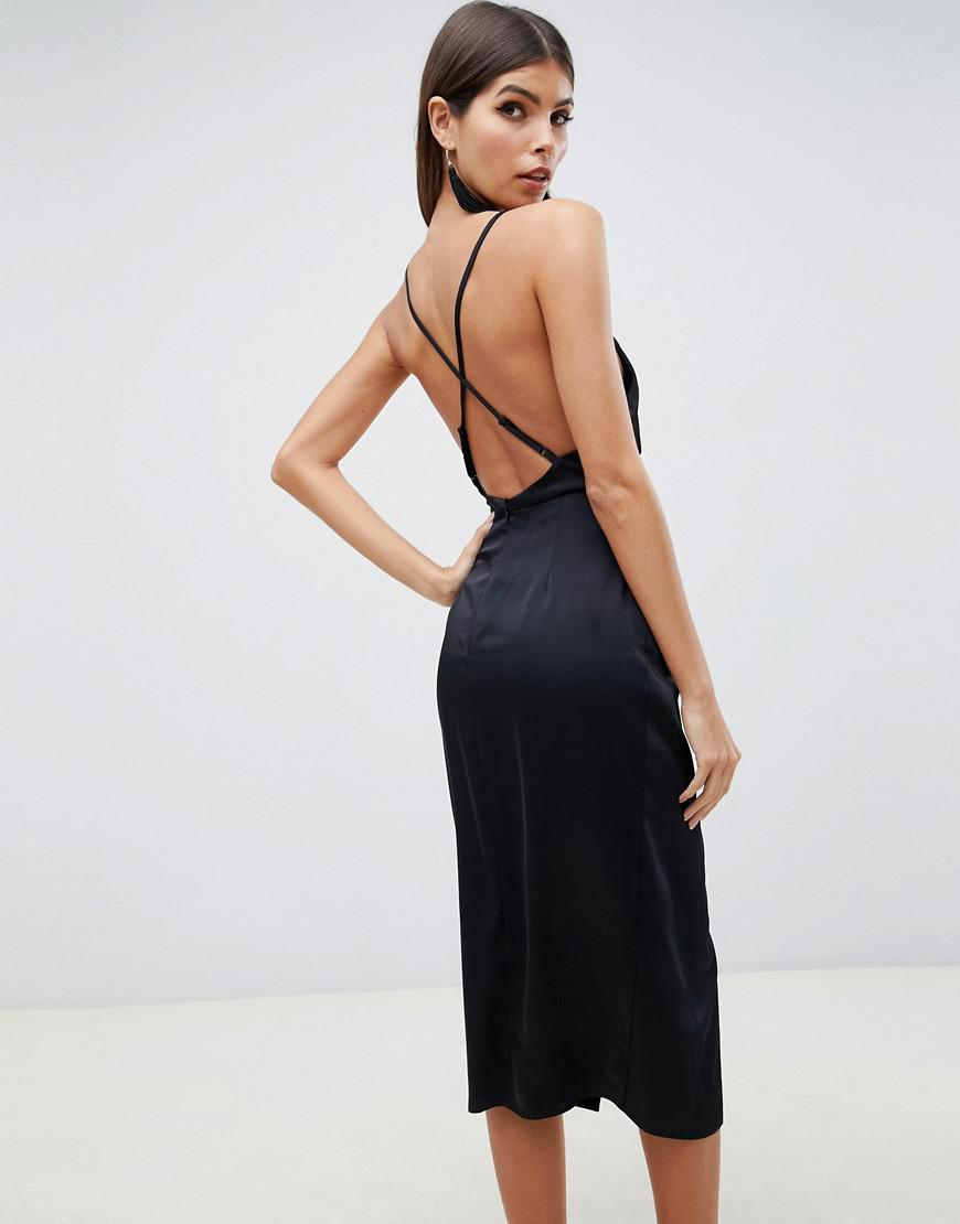 a7ce588261 Lyst - ASOS Midi Strappy Cami With Knot Front Plunge In Satin in Black