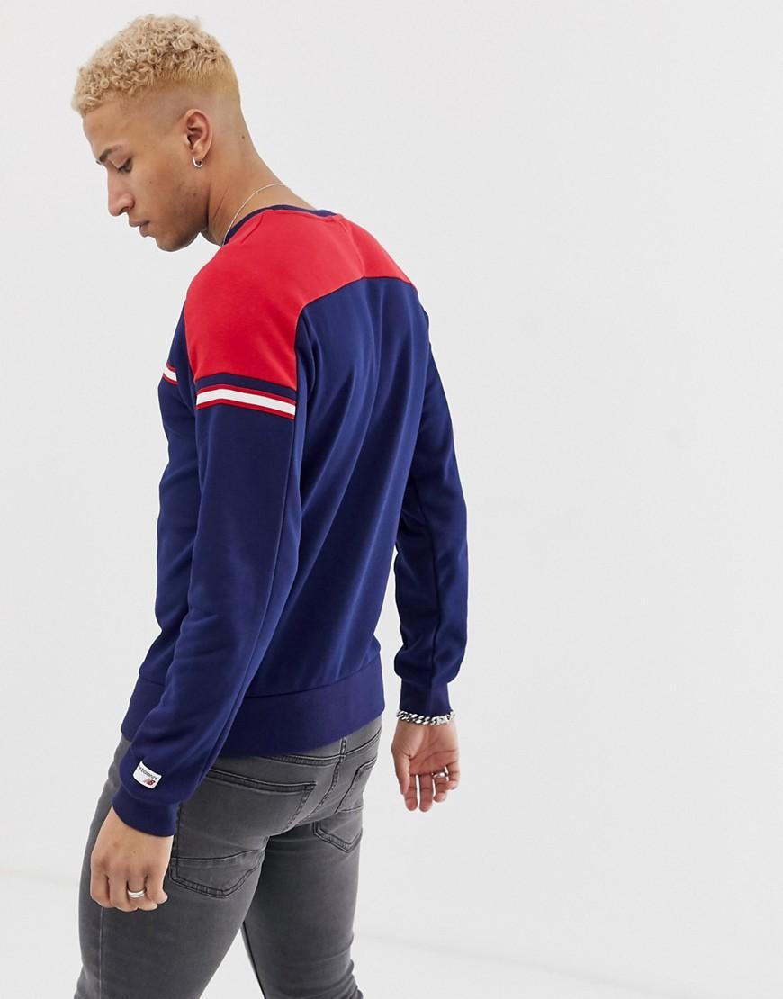 fdd061ae5373b Lyst - New Balance Colour Block Sweatshirt In Navy in Blue for Men
