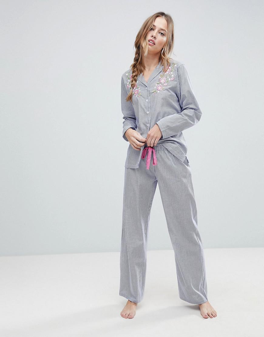 8f4fbdb60bdc6 Boux Avenue Embroidered Stripe Pyjama Set in Blue - Lyst