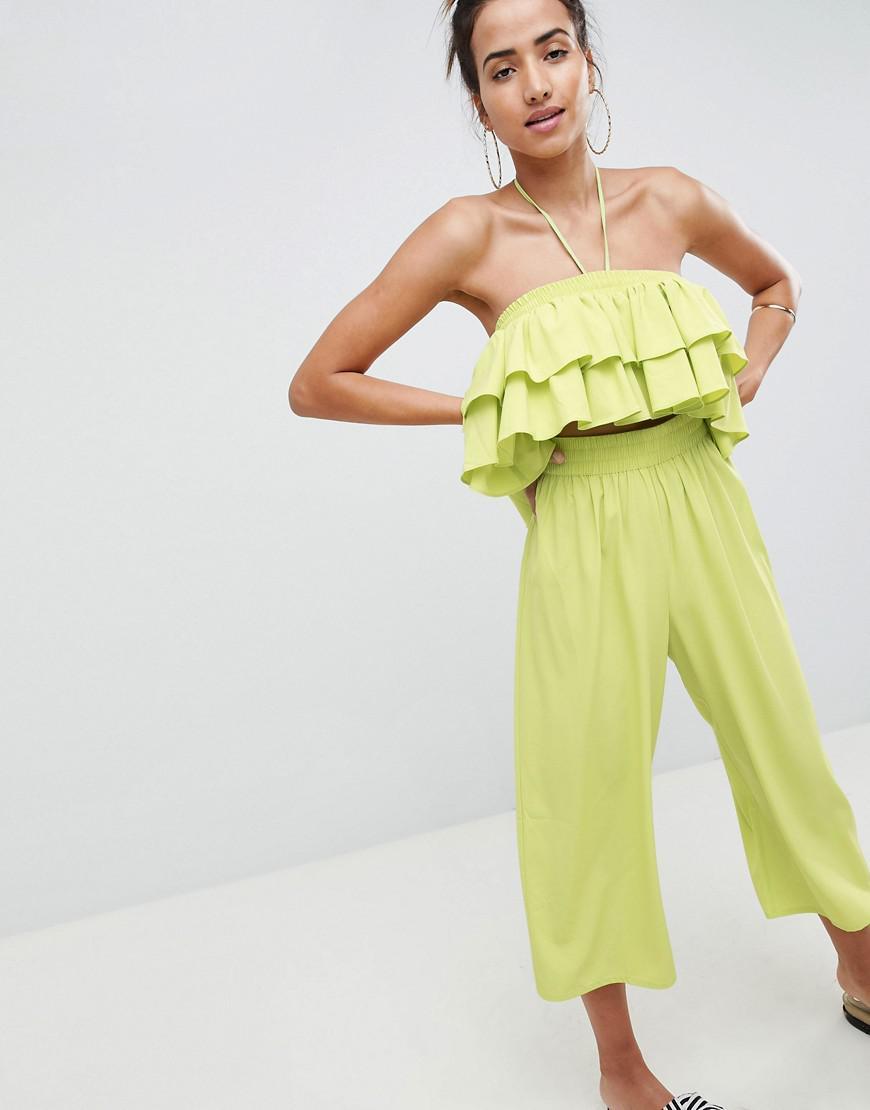 b61e4ac27c ASOS. Women s Green Asos Design Petite Ruffle Bandeau Jumpsuit With Cut Out  Detail