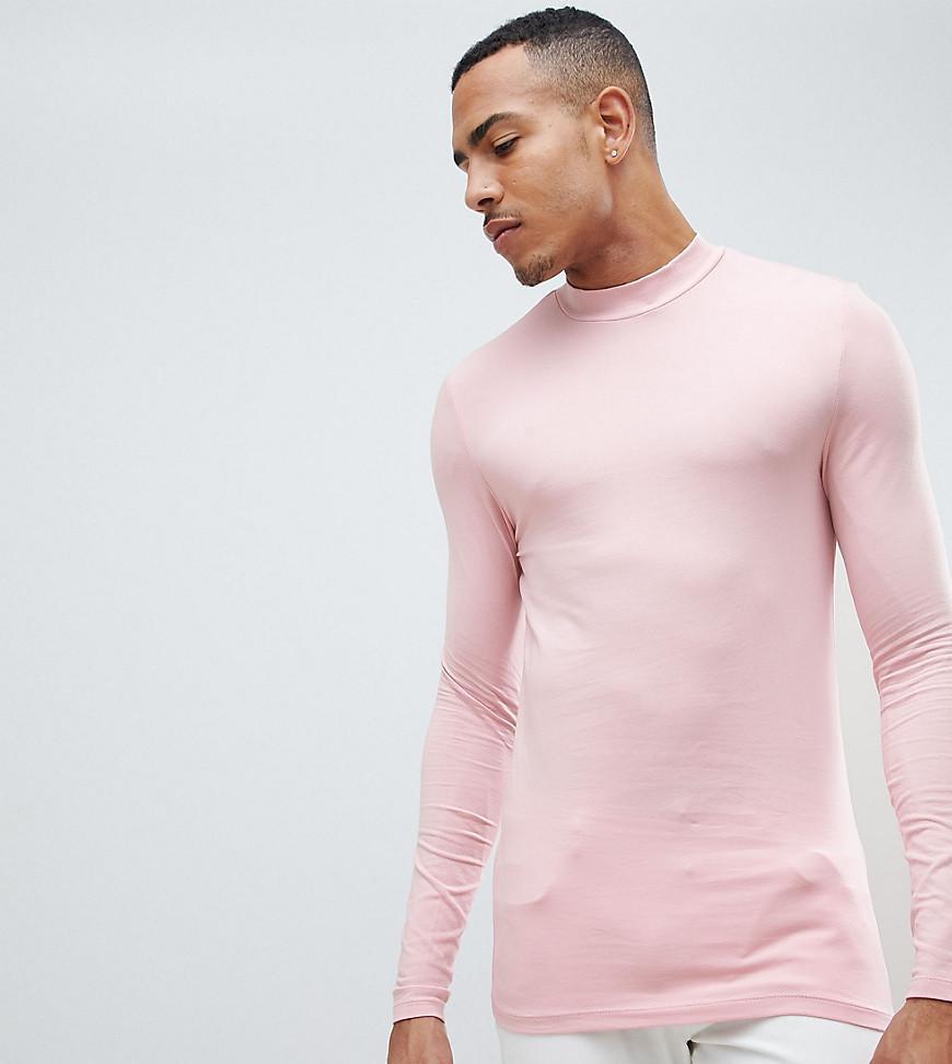 3e844e2657772 ASOS. T-shirt stretch moulant manches longues col roul homme de coloris rose