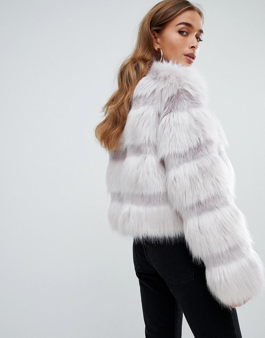 9c4c338c274 Lyst - ASOS Asos Design Petite Textured Faux Fur Coat in Gray
