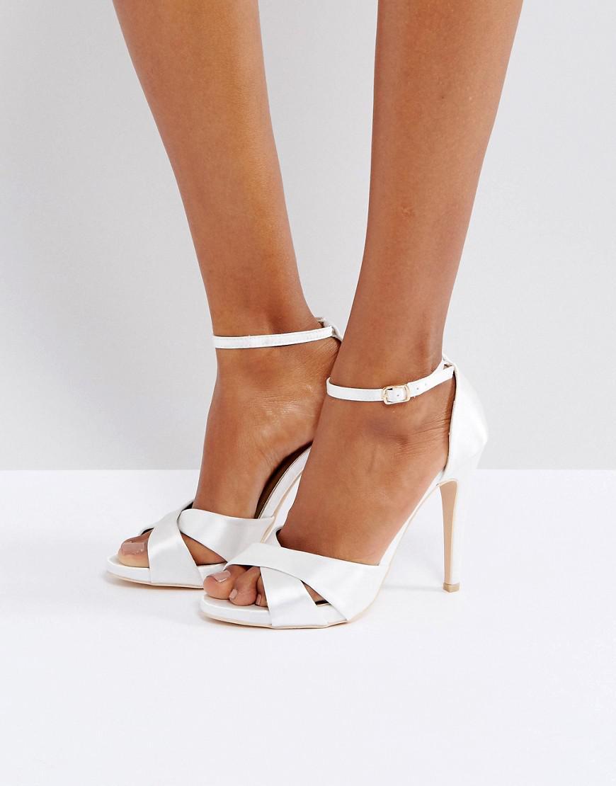 Cross Strap Heeled Sandals - Off white satin True Decadence poFXGl