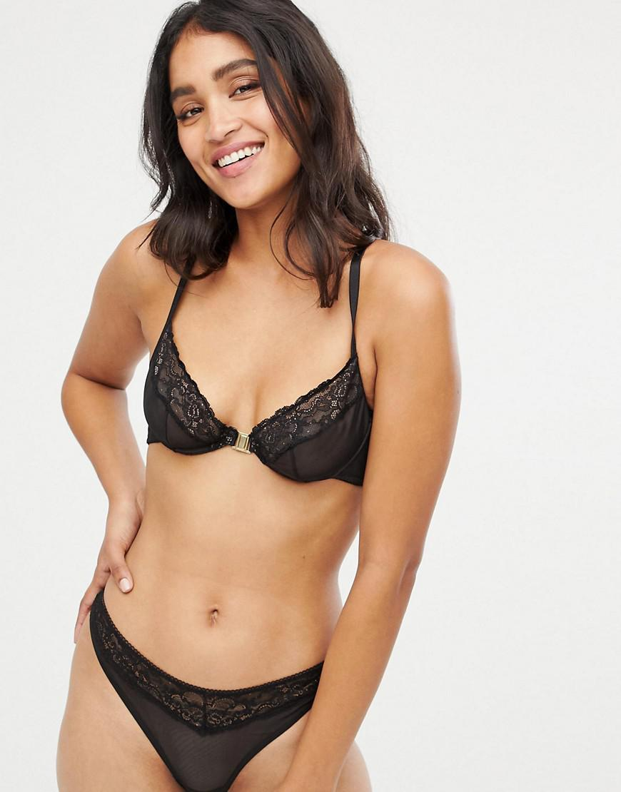 023196667d Lyst - ASOS Sunday Mesh   Lace Front Fastening Underwire Bra in Black