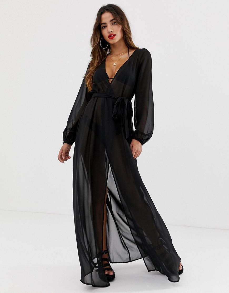 1138848c78 ASOS. Women's Recycled Long Sleeve Wrap Tie Chiffon Maxi Beach Kimono ...
