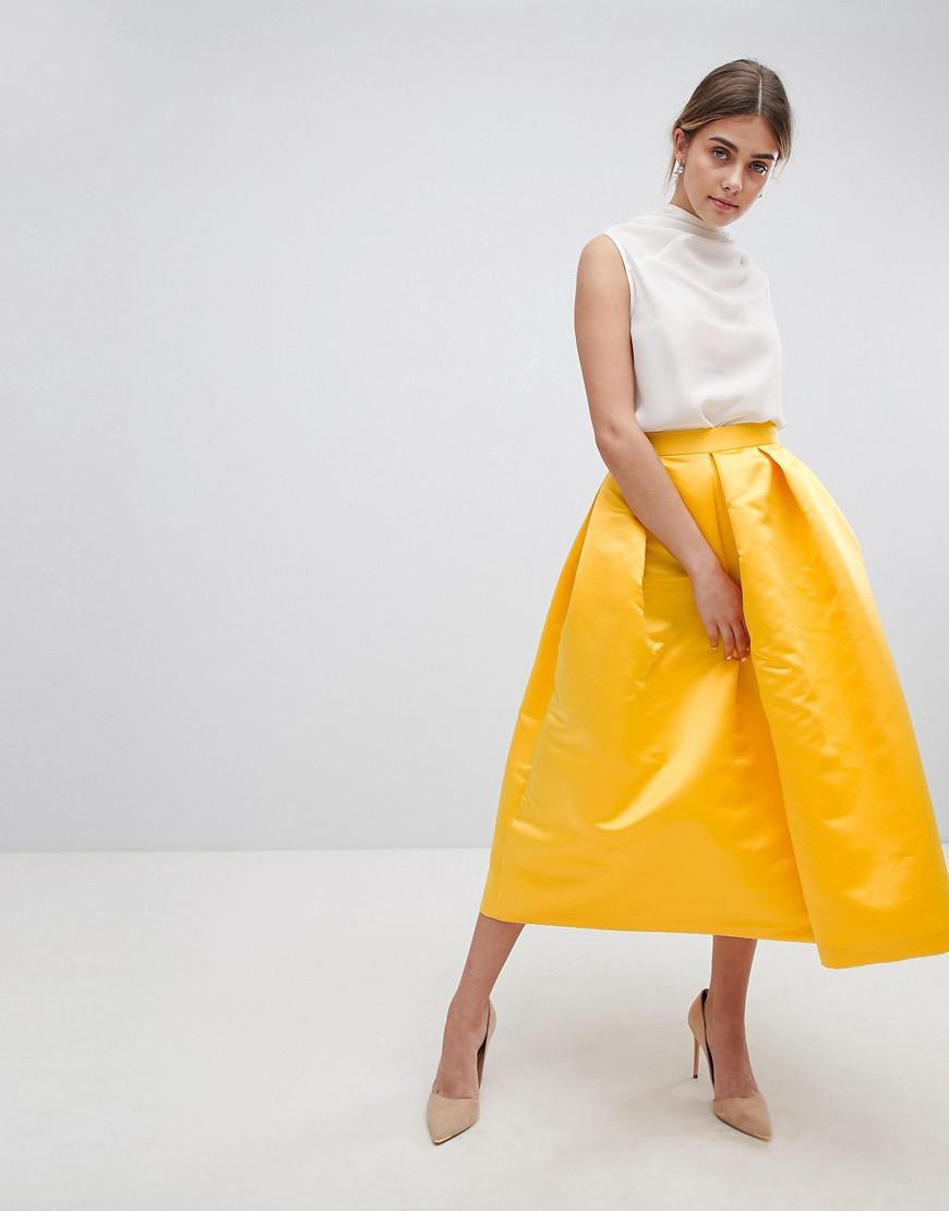 Closet London Full Prom Sateen Midi Skirt in Yellow - Lyst ac765ac19
