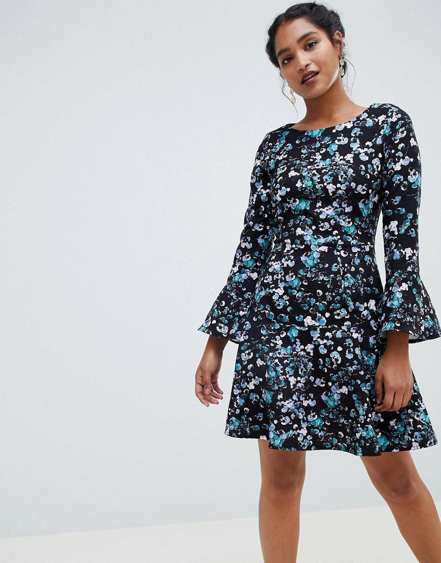 f239280f34ce Lyst - Closet Flute Sleeve Printed Skater Dress in Blue - Save 12%