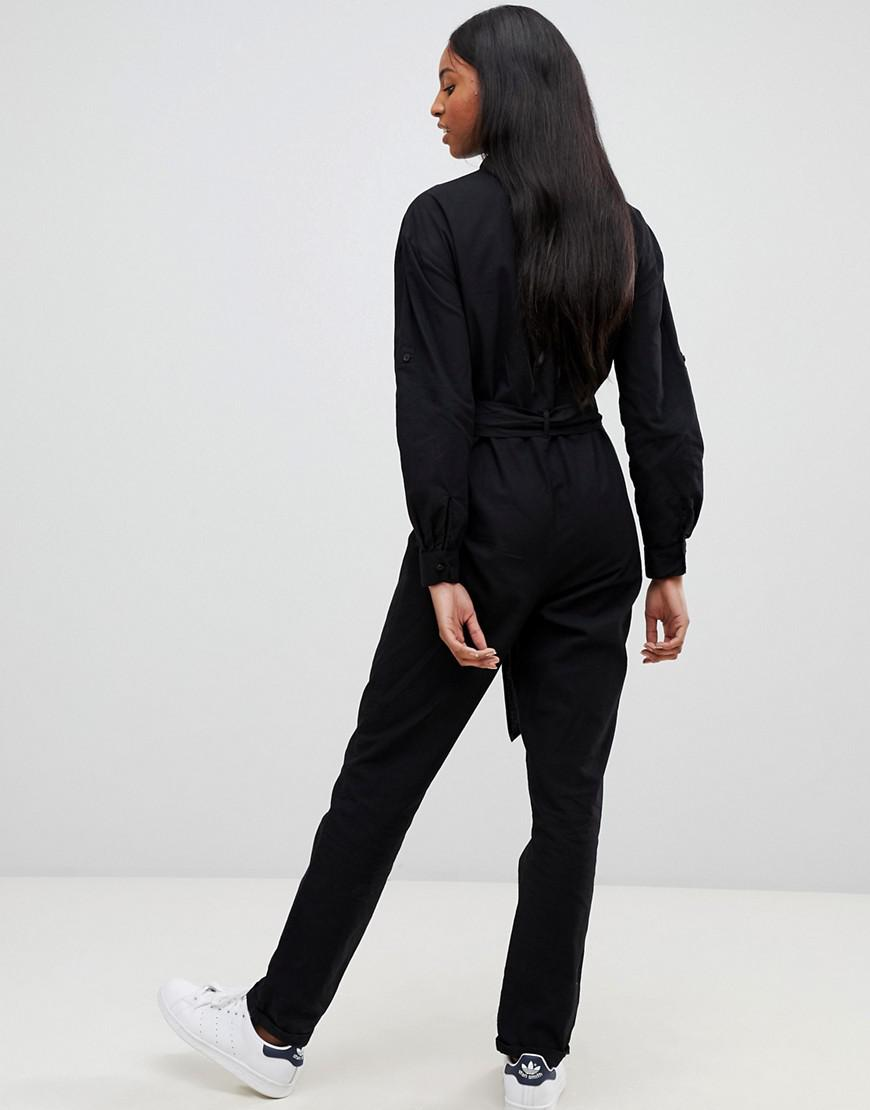 830ef3a803 ASOS Asos Design Tall Washed Cotton Boilersuit in Black - Lyst