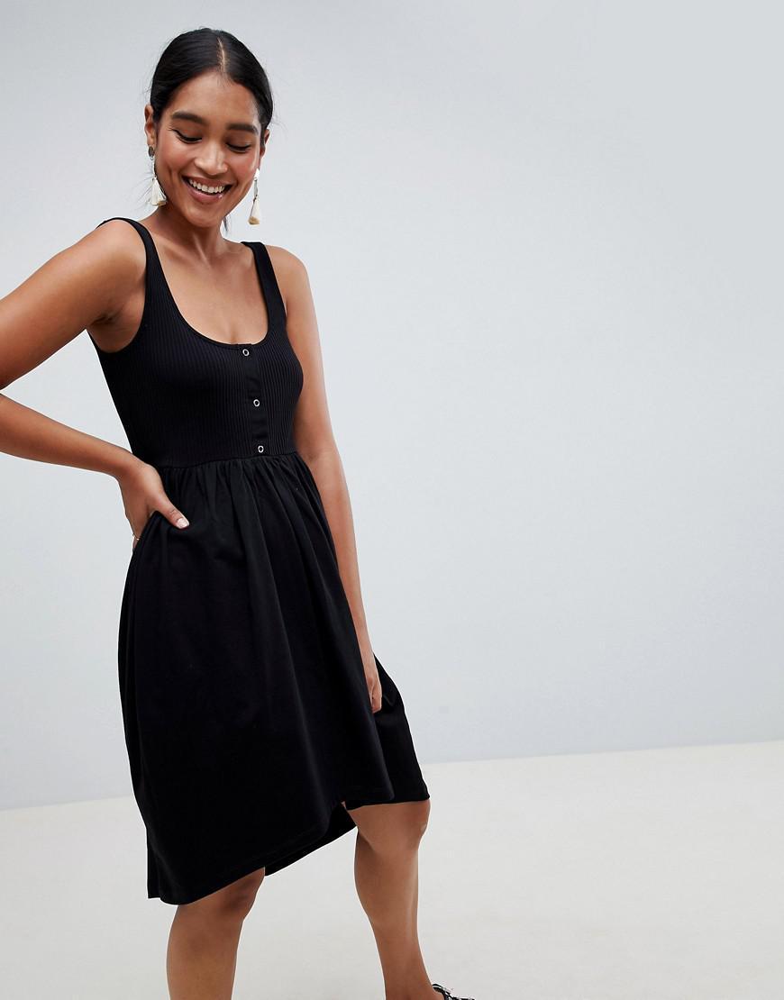 0d231af32d Lyst - ASOS Mixed Fabric Popper Front Smock Dress in Black