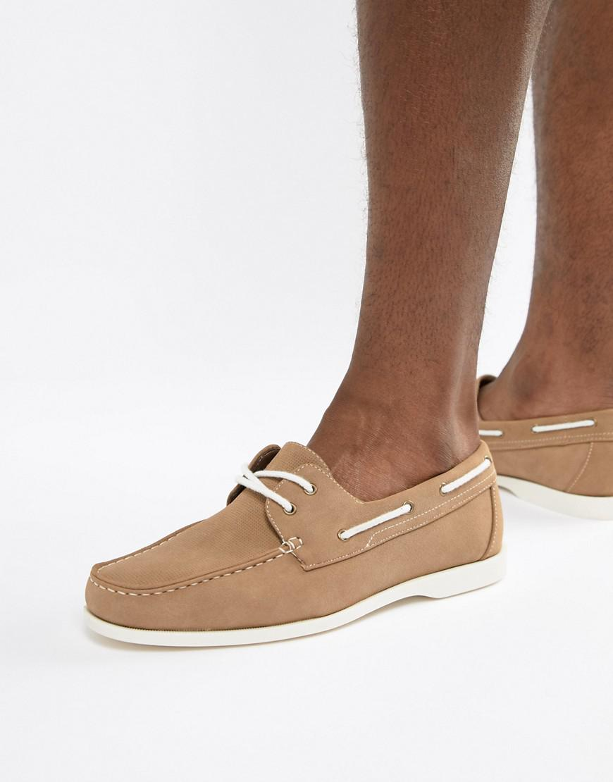 New Look Faux Suede Boat Shoes In