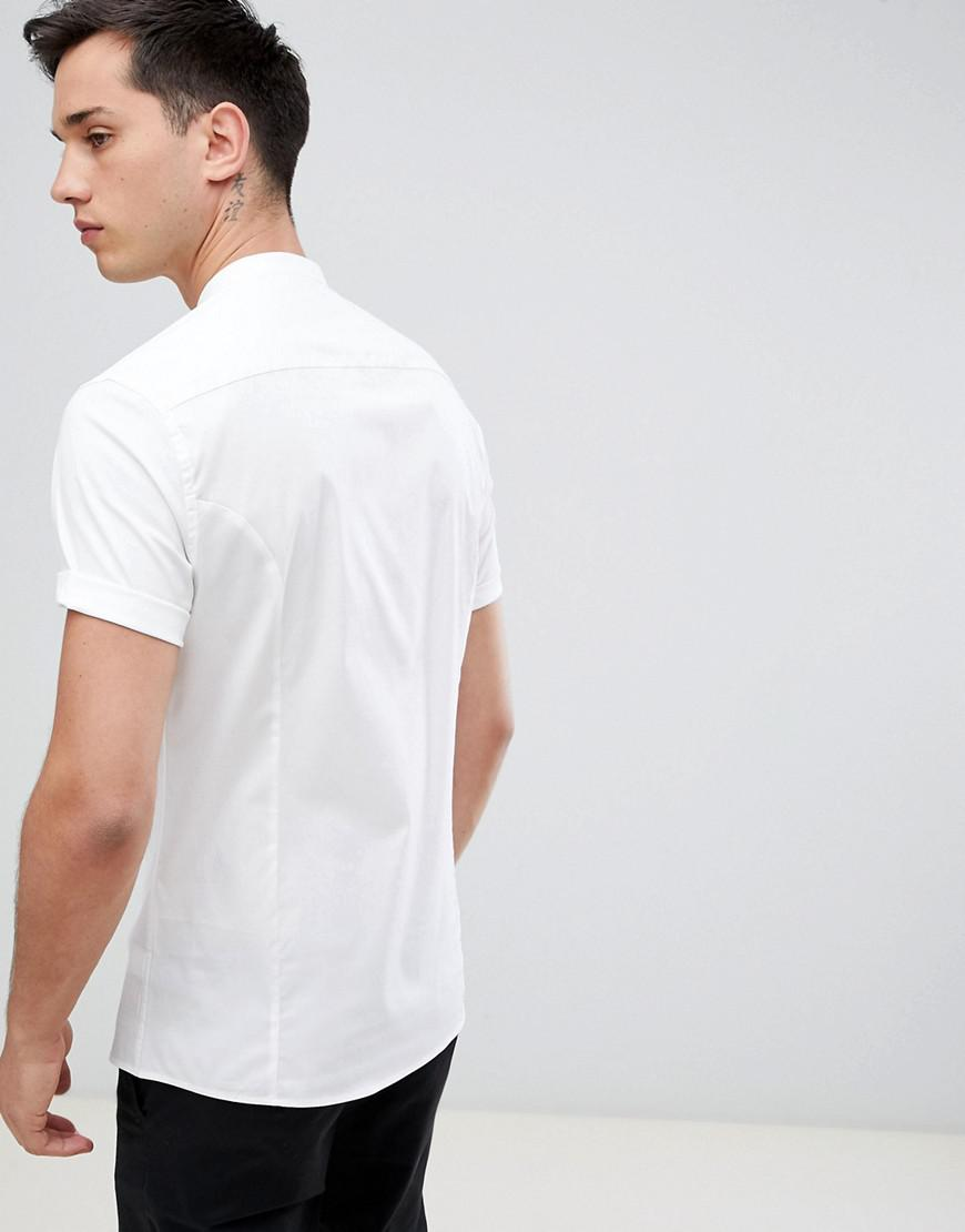a40b462660f Lyst - ASOS Tall Skinny Shirt With Grandad Collar In White in White ...