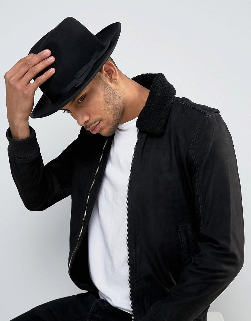 Lyst - Brixton Manhattan Fedora Hat With Medium Brim in Black for Men bc71fff8183