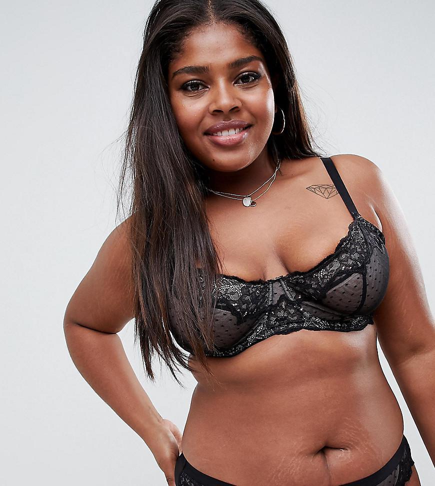 7569b8432d28c ASOS. Women s Black Asos Design Curve Lizzie Dobby Spot   Lace Underwired  Bra