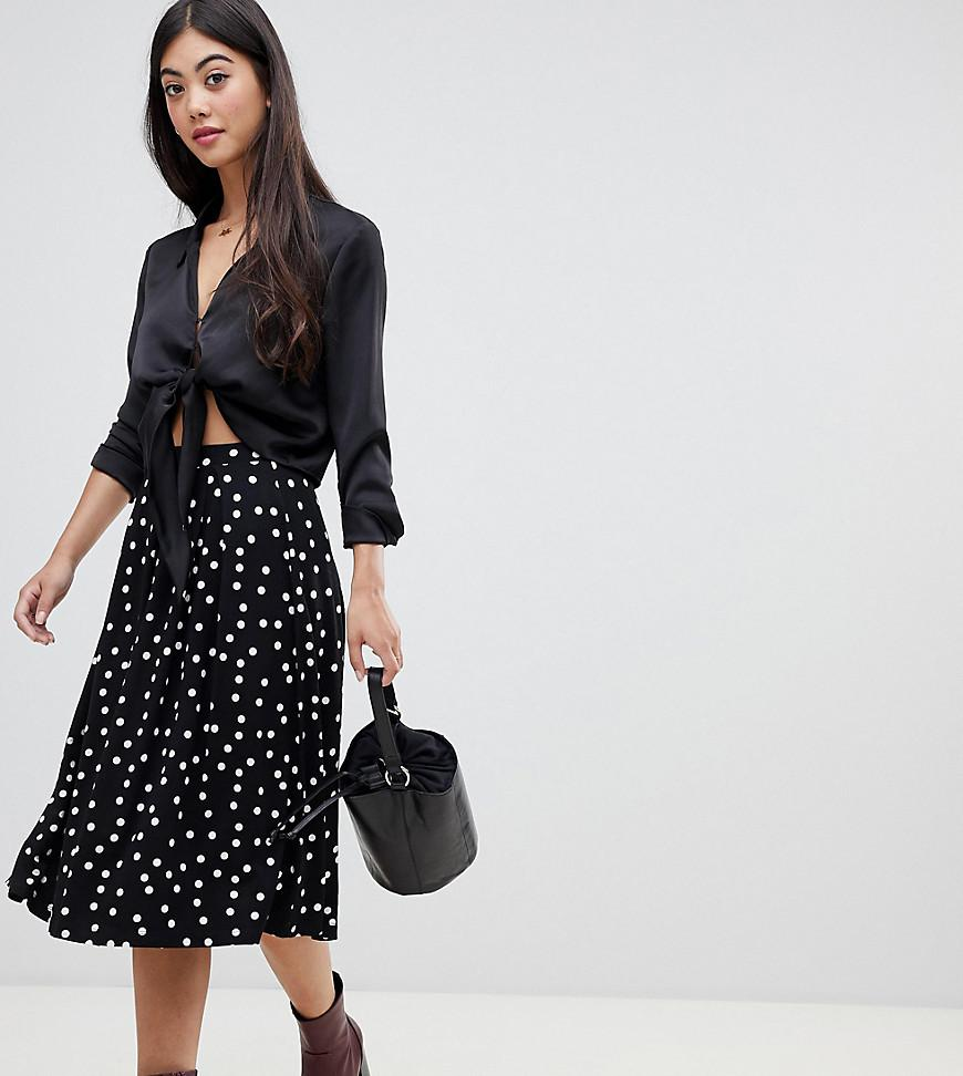 01f603735a7d ASOS - Black Asos Design Petite Midi Skirt With Box Pleat In Polka Dot Print  -. View fullscreen