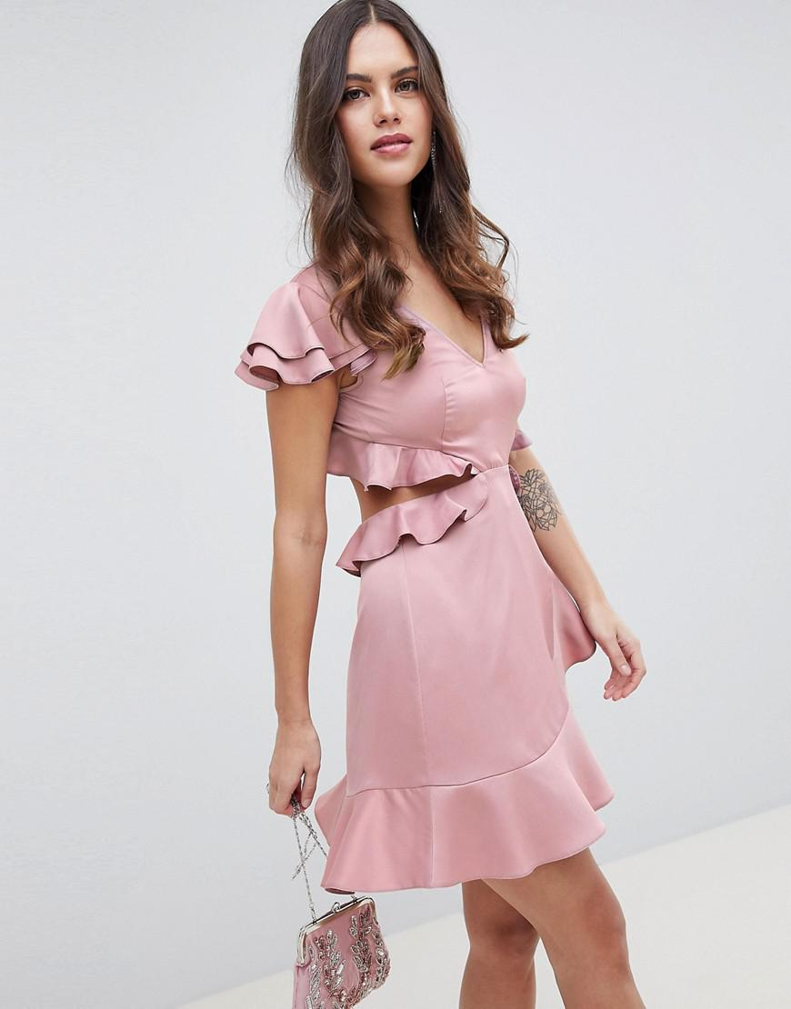 186bc90b9e00 Lyst - ASOS Ruffle Mini Dress In Rippled Satin With Cut Out Back in Pink