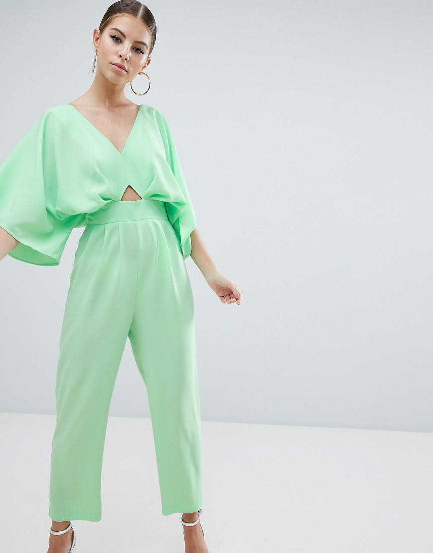 1da04e74603 ASOS Jumpsuit With Kimono Sleeve And Peg Leg in Green - Lyst