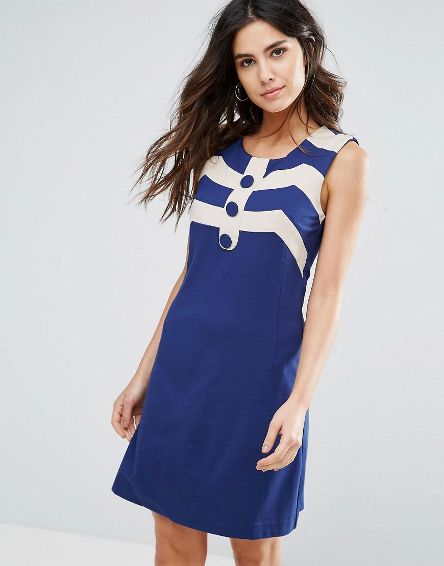 Dress With Contrast Border Print - Navy/cream Louche