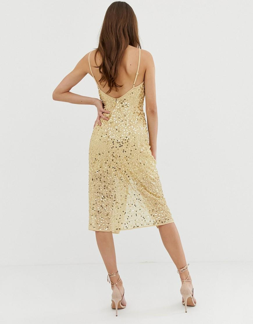 Lyst - ASOS Midi Strappy Cami Dress With Knot Front Plunge In Scatter  Sequin in Metallic 2cee2a8d0