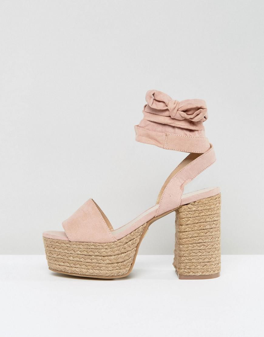 c5d45cea229 Lost Ink Blush Platform Espadrille Heeled Sandals in Pink - Lyst