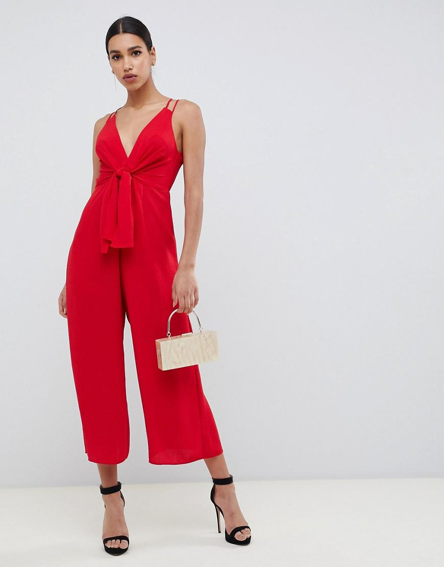 90fb94dbf0 Lyst - ASOS Jumpsuit With Tie Front And Wide Leg in Red