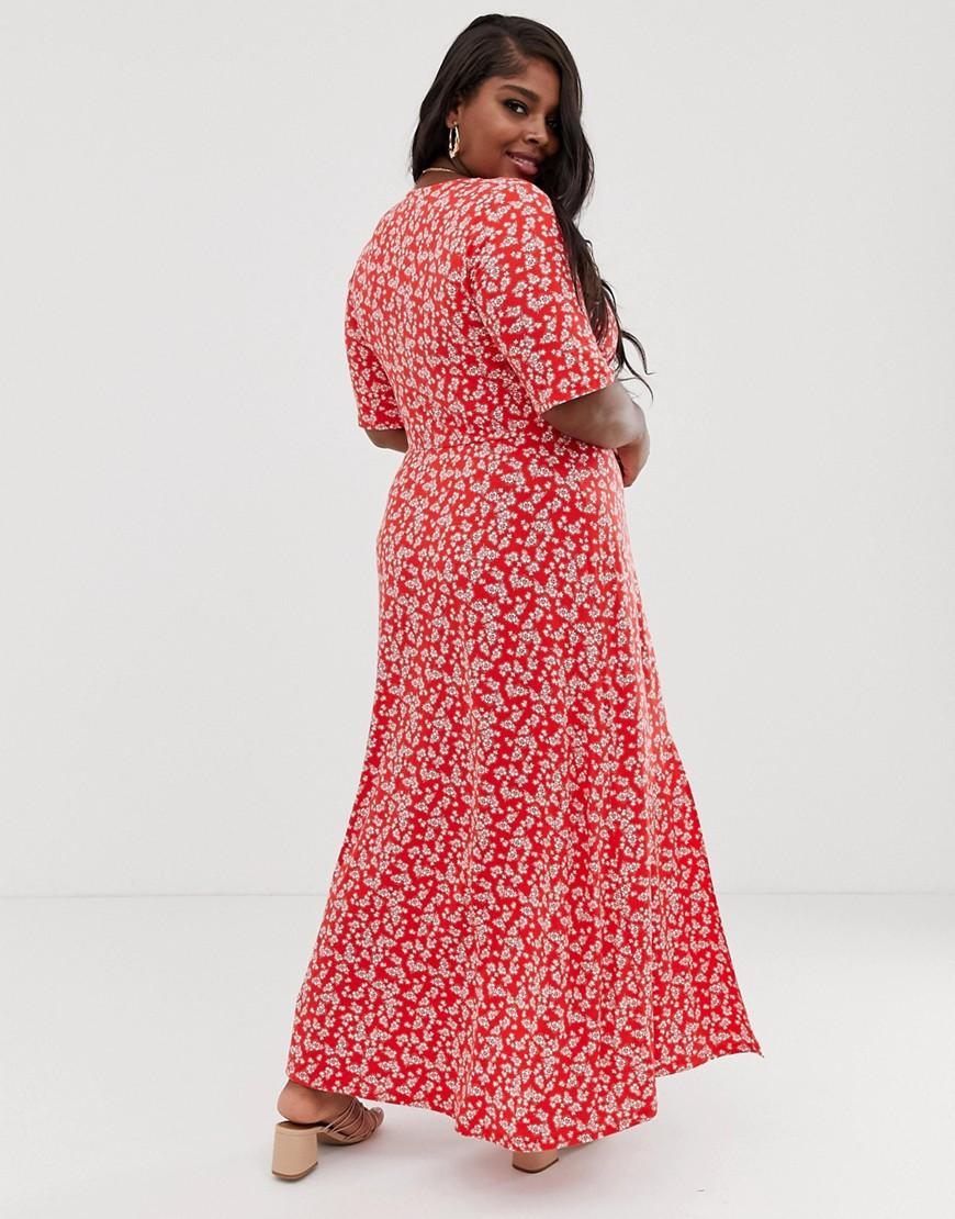 027342a4c Lyst - ASOS Asos Design Curve Button Through Maxi Tea Dress With Splits In Ditsy  Print in Red