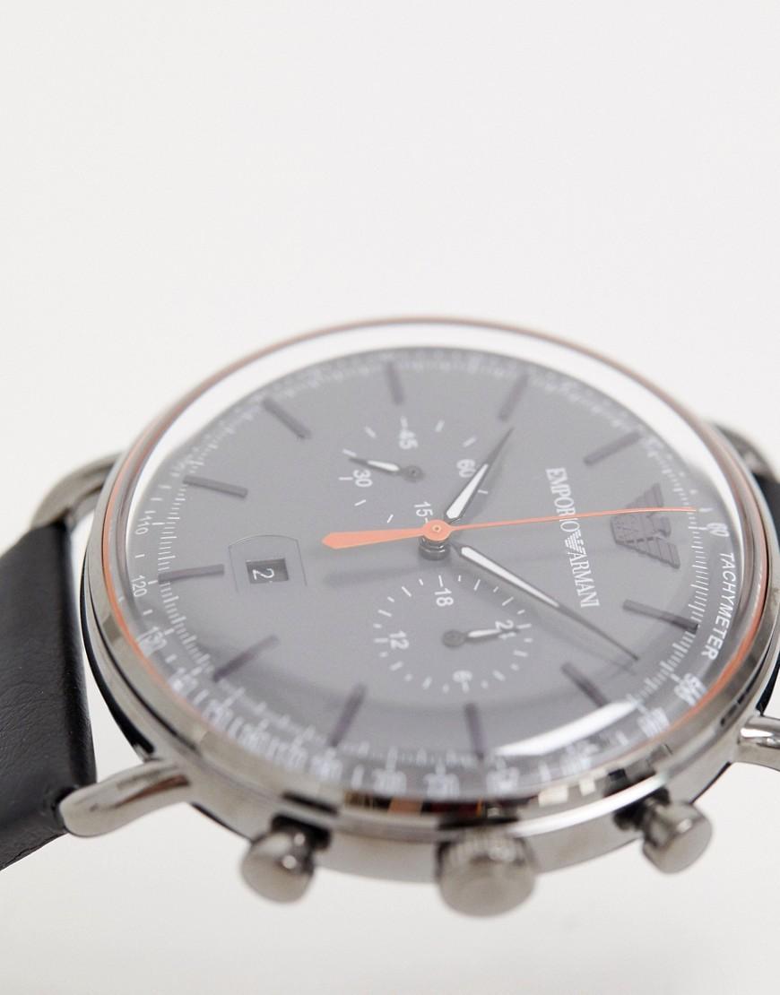 8a7f1c65e022 Reloj de cuero de 43 mm Aviator AR11168 de Emporio Armani de hombre ...