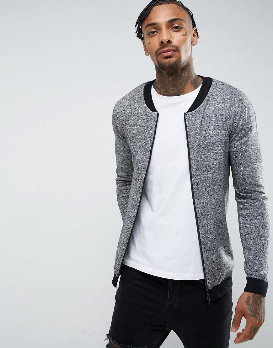 ASOS. Men's Gray Knitted Cotton Bomber With Contrast Trims ...