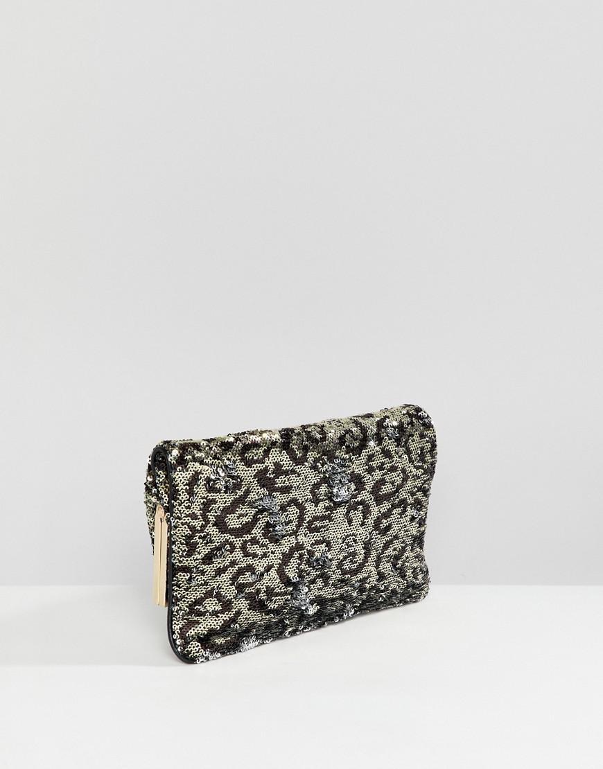 d24c0d11dd4 ALDO Conga Sequin Leopard Print Foldover Clutch Bag - Lyst