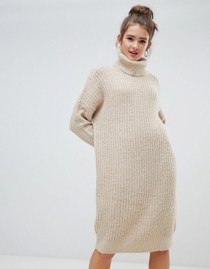 ed8e6a460c1 ONLY - Natural Roll Neck Midi Sweater Dress In Beige - Lyst. View fullscreen