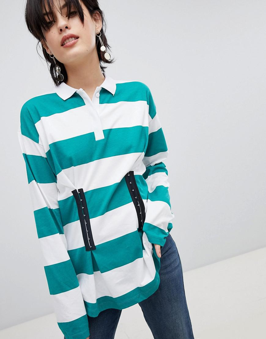e1076aff8cf7 Lyst - Polo rayures style rugby dtail effet corset ASOS en coloris Vert