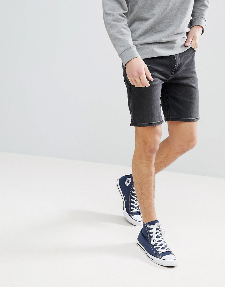 Denim Shorts In Slim Black With Badges and Rip - Washed black Asos JA93ed