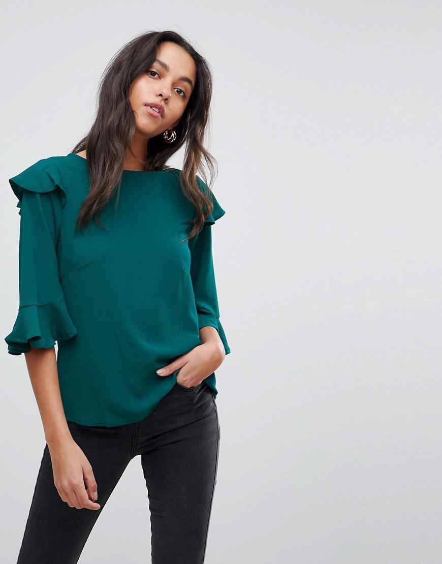 Manchester Frill Sleeve Top - Teal AX PARIS Purchase Cheap Sale Purchase Cheap Shop Zy60e7IAj8