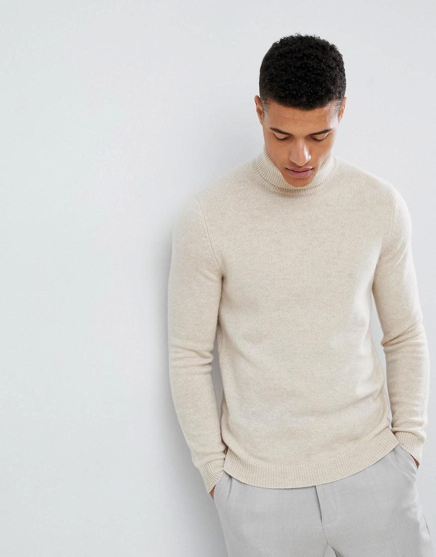 7e5e8f997b8 Lyst - ASOS Lambswool Roll Neck Sweater In Oatmeal in Natural for Men