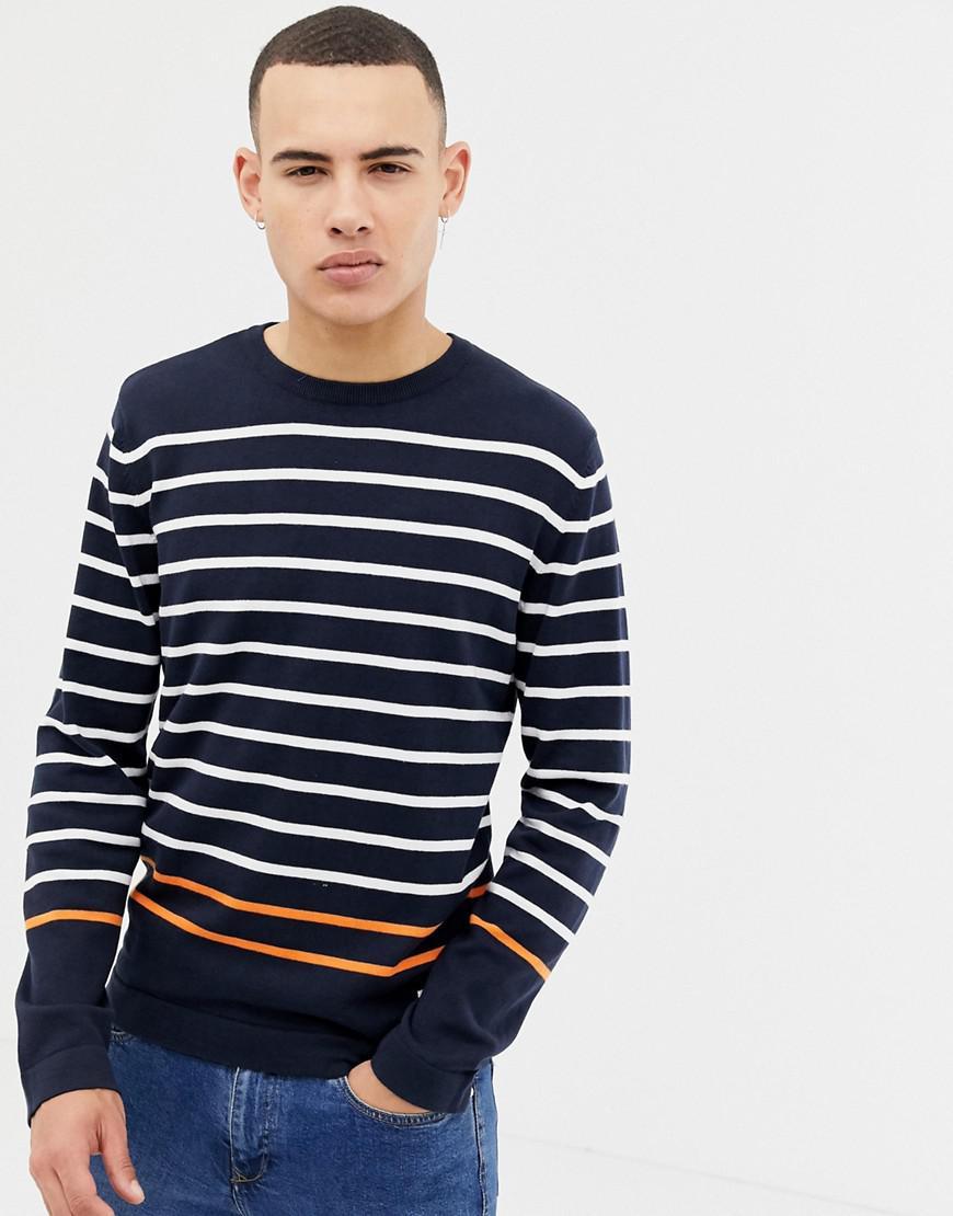 84dc1c2f469b Jack   Jones Core Knitted Jumper With Multi Stripe in Blue for Men ...