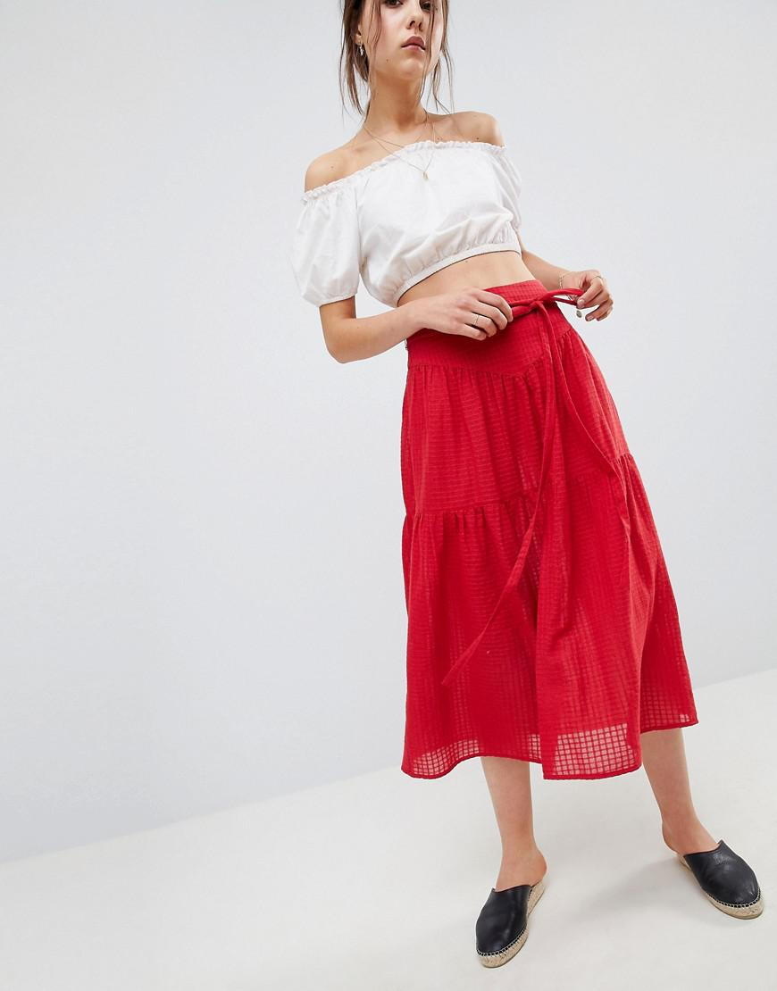 Midi Skirt with Tie Belt in Grid Texture - Red Asos Best Wholesale Clearance Best Wholesale Visa Payment Online Outlet Lowest Price Cheap Low Price Fee Shipping c6kcNRZf