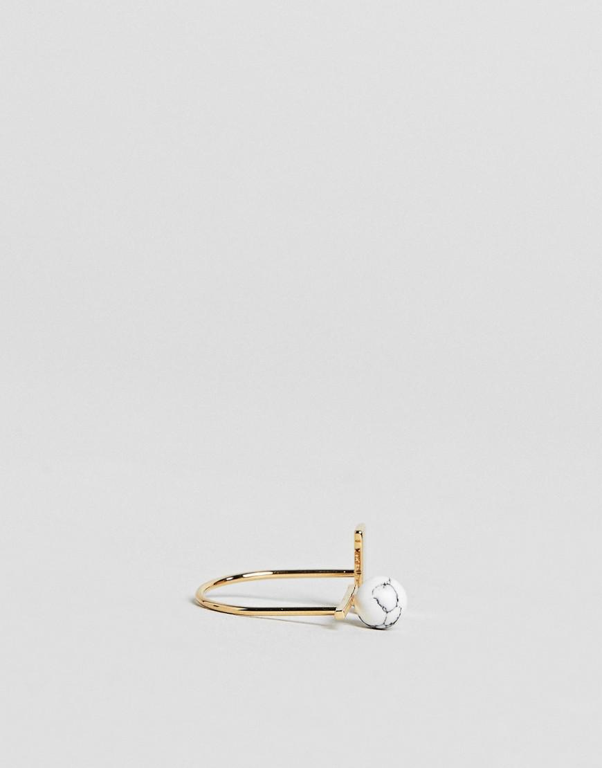Limited Edition Geometric Semi-Precious Marble Ball Ring - Gold Asos Cr71VsqE