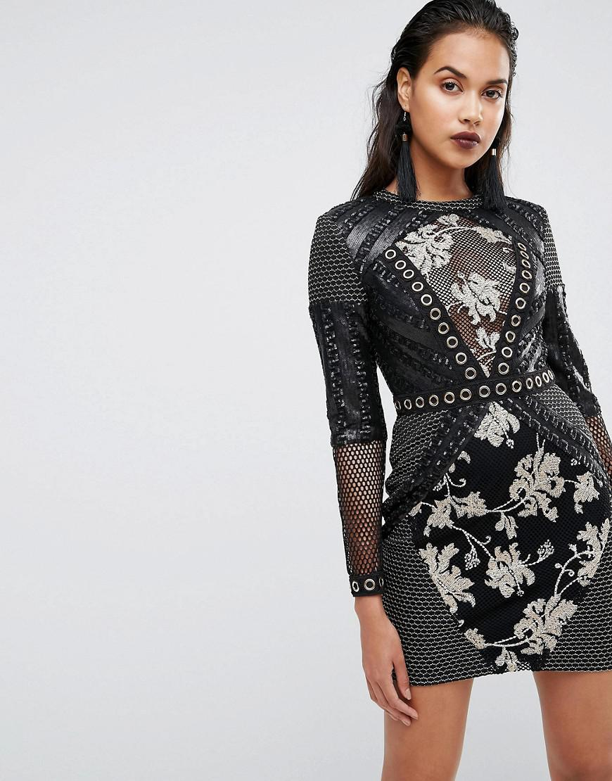0267f06ecb261 Boohoo Premium Sequin And Mesh Detail Bodycon Dress in Black - Lyst