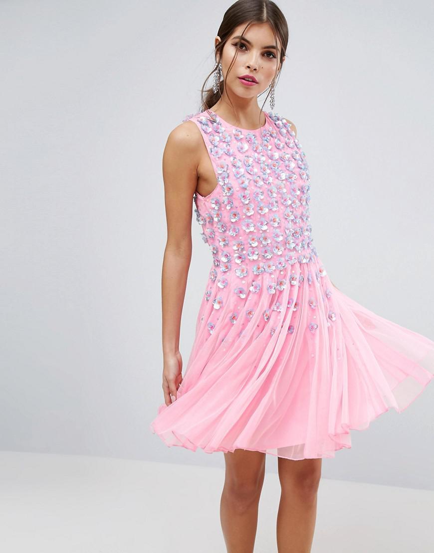 2c957172d286 ASOS. Women's Salon Pink Floral Embellished Mesh Fit And Flare Mini Dress