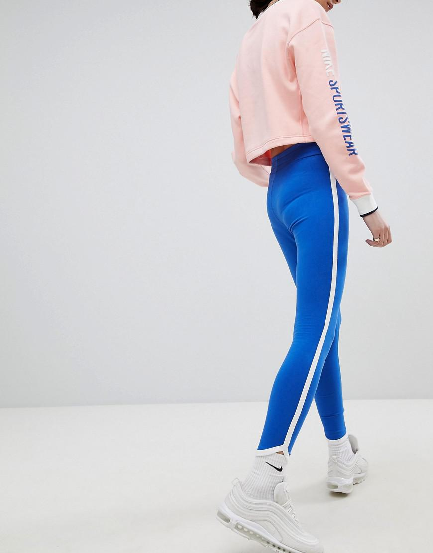 214af38ab5195f Nike Archive Logo Leggings In Blue With Piping in Blue - Lyst