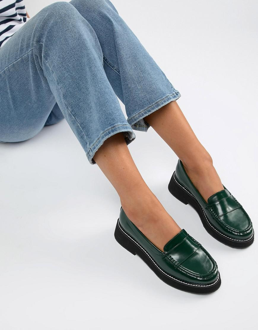 bf2ef52f333 Lyst - ASOS Mastery Chunky Loafer Flat Shoes in Green